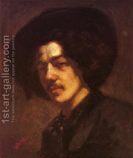 Portrait of Whistler with Hat by James Abbott McNeill Whistler - Reproduction Oil Painting