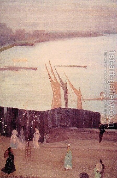 Variations in Pink And Grey: Chelsea by James Abbott McNeill Whistler - Reproduction Oil Painting