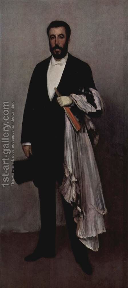Arrangement in Flesh Colour and Black: Portrait of Theodore Duret by James Abbott McNeill Whistler - Reproduction Oil Painting