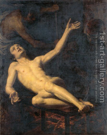 The Martyrdom of Saint Lawrence by Jacopo Vignali - Reproduction Oil Painting