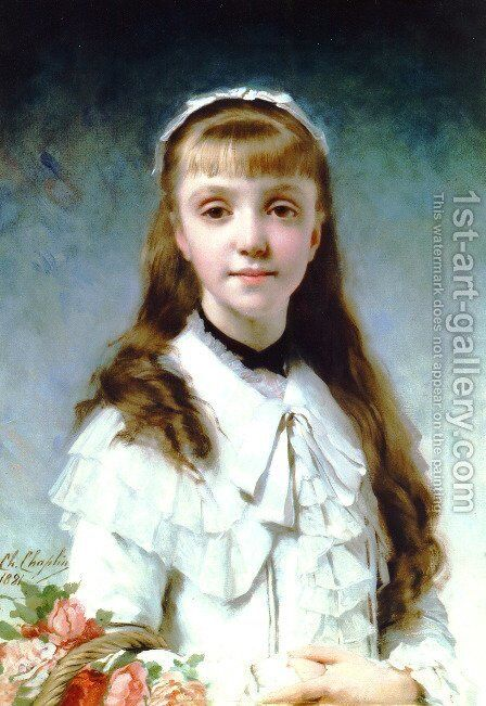 La Fille Du Peintre (Daughter of the Painter) (or Young Girl with Bouquet) by Charles Chaplin - Reproduction Oil Painting