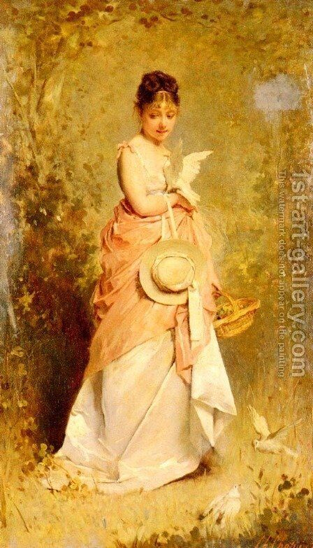 La Jeune Fille Aux Colombes (Girl with Doves) by Charles Chaplin - Reproduction Oil Painting
