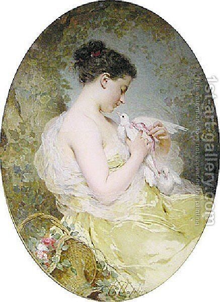 Jeune fille à la colombe (Young Girl with a Dove) by Charles Chaplin - Reproduction Oil Painting