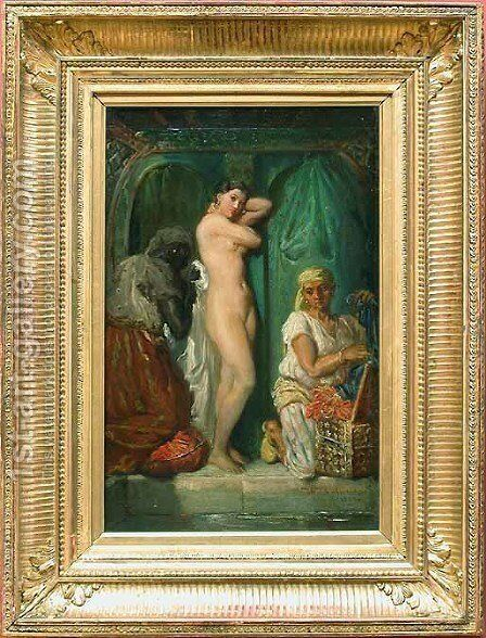 Un bain au sérail (A Bath in the Harem) by Theodore Chasseriau - Reproduction Oil Painting