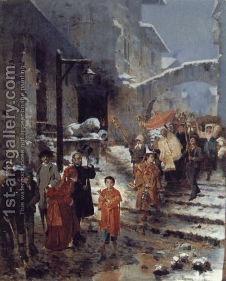 A Religious Procession in Winter by Cavaliere Giocomo di Chirico - Reproduction Oil Painting