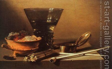 Still Life with Wine and Smoking Implements by Pieter Claesz. - Reproduction Oil Painting
