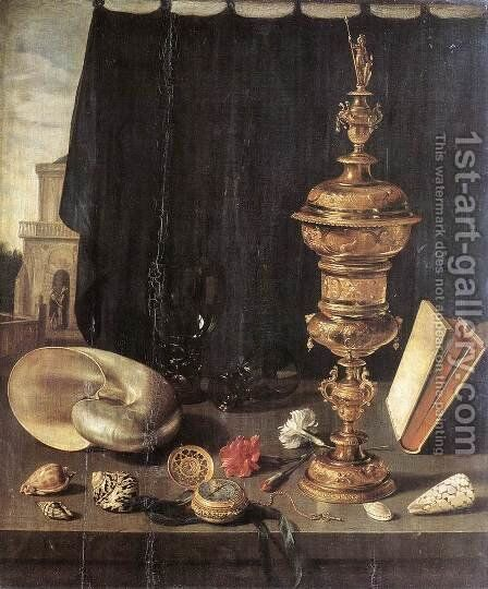 Still Life with Great Golden Goblet 2 by Pieter Claesz. - Reproduction Oil Painting
