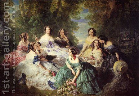 The Empress Eugenie Surrounded by her Ladies in Waiting by Franz Xavier Winterhalter - Reproduction Oil Painting