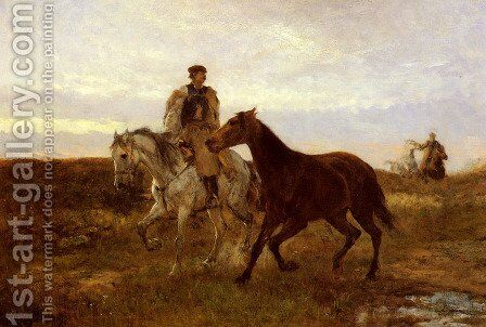 Leading the Horses Home at Sunset by Mihaly Munkacsy - Reproduction Oil Painting