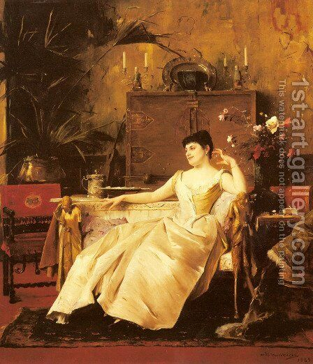 A Portrait of the Princess Soutzo by Mihaly Munkacsy - Reproduction Oil Painting