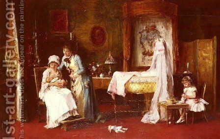 Maternal Happiness by Mihaly Munkacsy - Reproduction Oil Painting