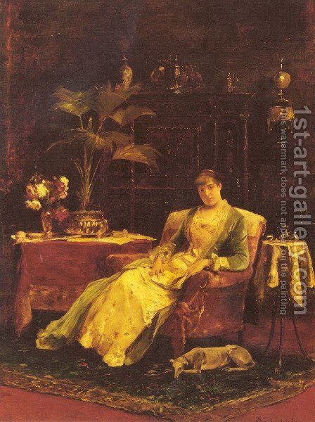 A lady seated in an Elegant Interior by Mihaly Munkacsy - Reproduction Oil Painting