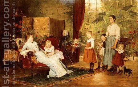 The Fete Of The Lady Of The Manor by Mihaly Munkacsy - Reproduction Oil Painting