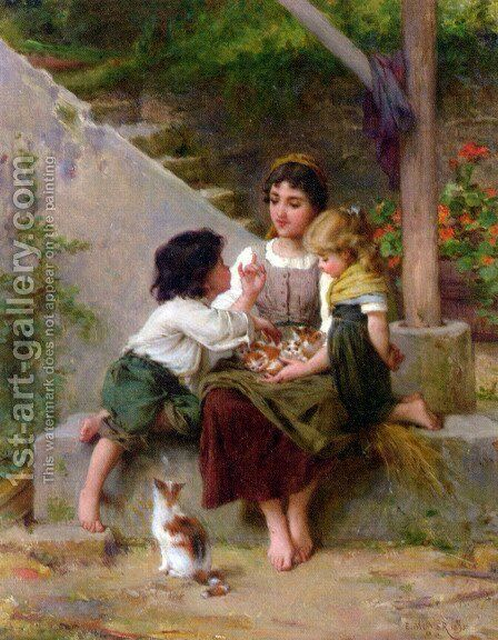 Playing with the Kittens by Emile Munier - Reproduction Oil Painting