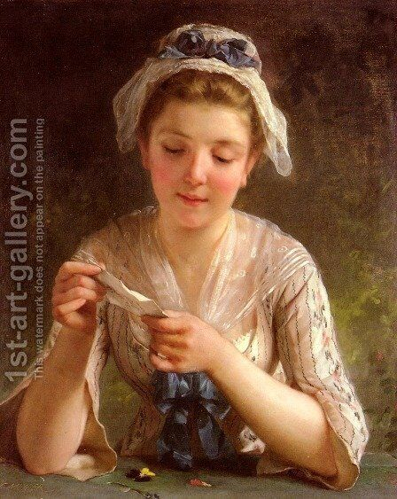 La Lettre (The Letter) by Emile Munier - Reproduction Oil Painting