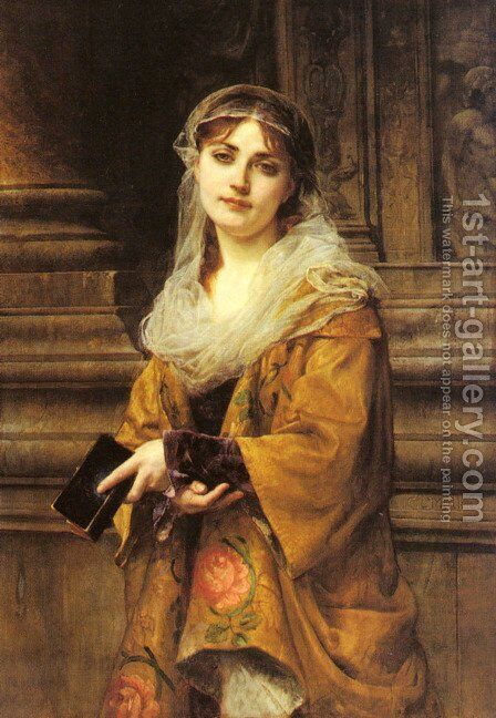 A Young Woman Outside a Church by Charles Louis Lucien Muller - Reproduction Oil Painting