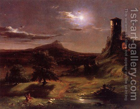 Moonlight by Thomas Cole - Reproduction Oil Painting