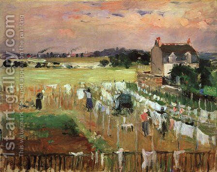 Hanging out the Laundry to Dry by Berthe Morisot - Reproduction Oil Painting