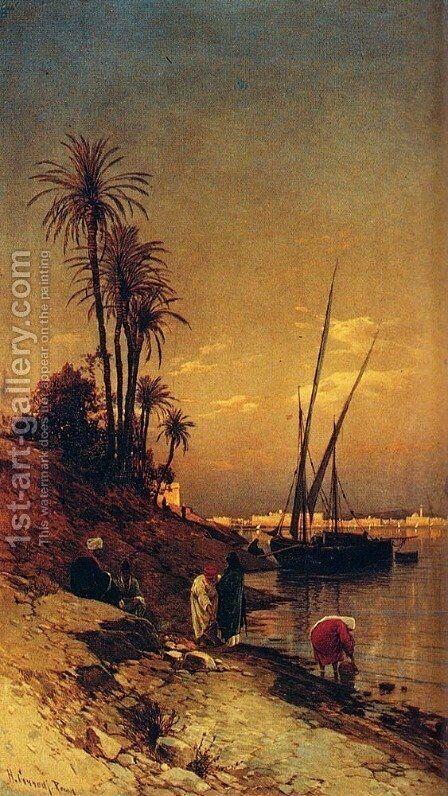 At The Water's Edge by Hermann David Solomon Corrodi - Reproduction Oil Painting