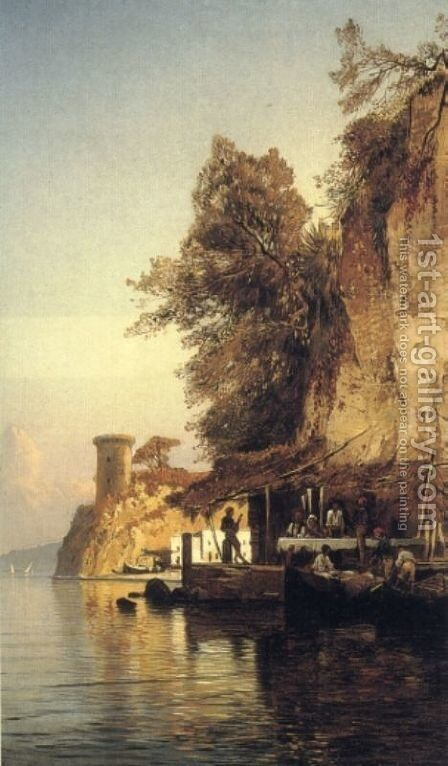 Italian Fisherfold By the Sea, Southern Italy by Hermann David Solomon Corrodi - Reproduction Oil Painting