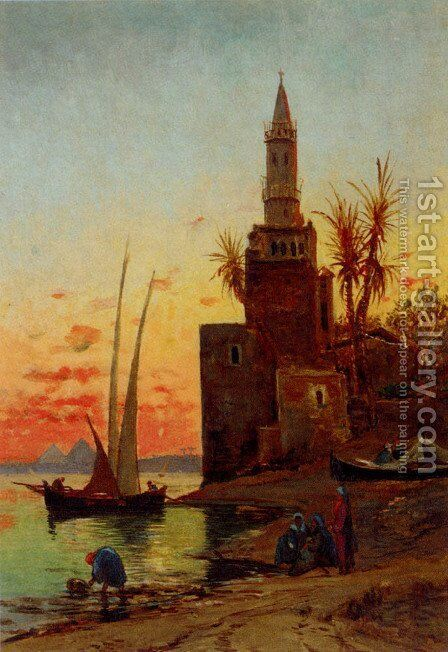 Sunset On The Nile by Hermann David Solomon Corrodi - Reproduction Oil Painting