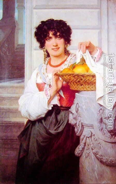 Pisan Girl with Basket of Oranges and Lemons by Pierre Auguste Cot - Reproduction Oil Painting