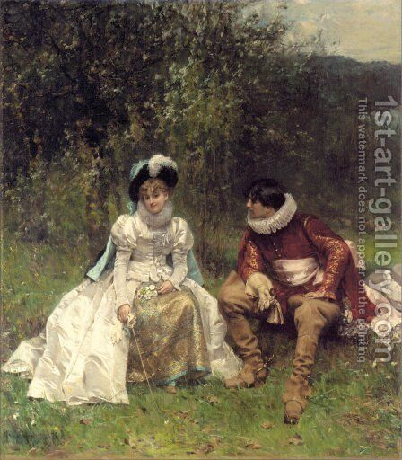 The Courtship by Adrien Moreau - Reproduction Oil Painting