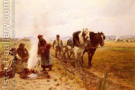Plowing The Fields by Adrien Moreau - Reproduction Oil Painting