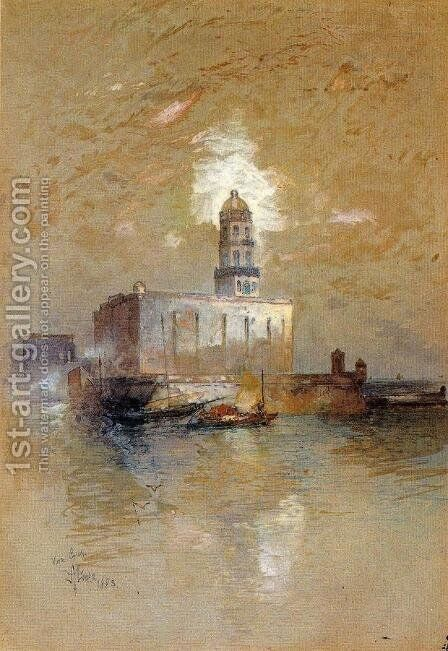 Castle of San Juan D'Ulloa, Vera Cruz, Mexico by Thomas Moran - Reproduction Oil Painting