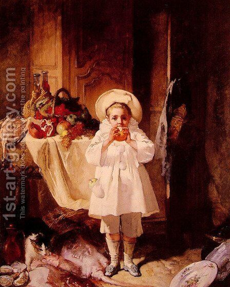 A feast for the young Peirot by Charles Monignot - Reproduction Oil Painting
