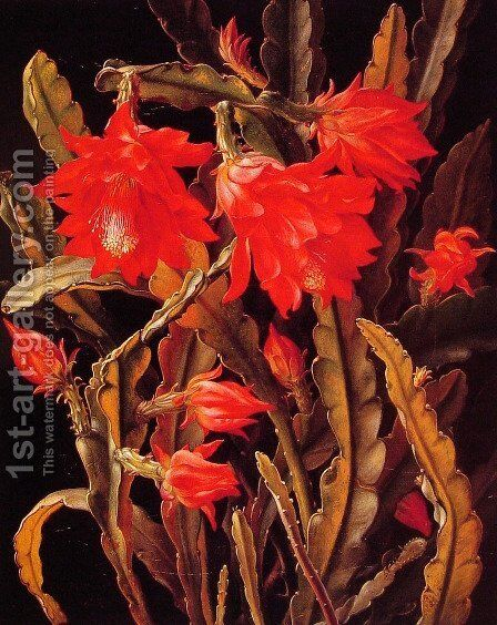Cactus with Scarlet Blossoms by Christian Juel Mollback - Reproduction Oil Painting