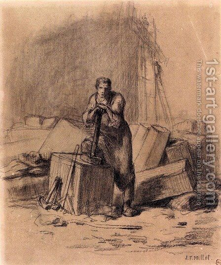 un Tailleur De Pierres (The Stone Cutter) by Jean-Francois Millet - Reproduction Oil Painting