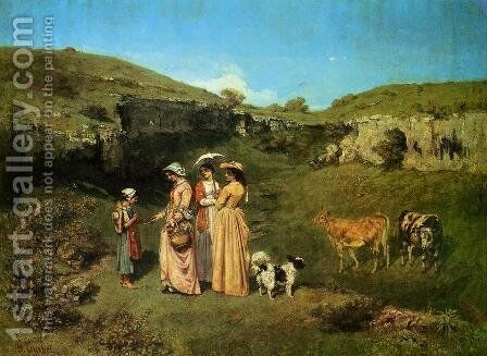The Young Ladies of the Village by Gustave Courbet - Reproduction Oil Painting