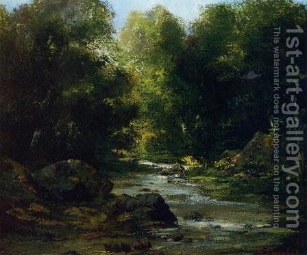 River Landscape by Gustave Courbet - Reproduction Oil Painting