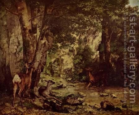 Shelter of the Roe Deer at the Stream of Plaisir-Fontaine, Doubs by Gustave Courbet - Reproduction Oil Painting