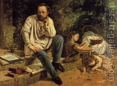 Portrait of P.J. Proudhon in 1853 by Gustave Courbet - Reproduction Oil Painting