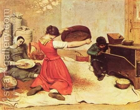 The Grain Sifters by Gustave Courbet - Reproduction Oil Painting