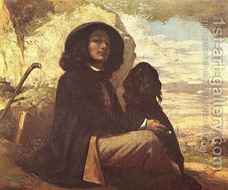Self Portrait with a Black Dog by Gustave Courbet - Reproduction Oil Painting
