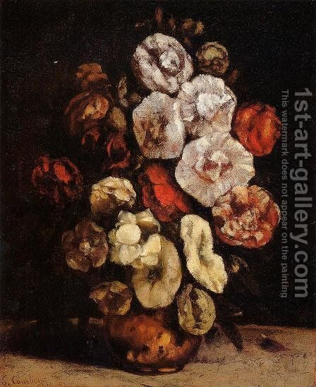 Hollyhocks In A Copper Bowl by Gustave Courbet - Reproduction Oil Painting