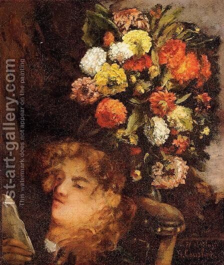 Head Of A Woman With Flowers by Gustave Courbet - Reproduction Oil Painting