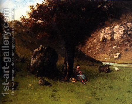 La Petite Bergere (The Young Shepherdess) by Gustave Courbet - Reproduction Oil Painting
