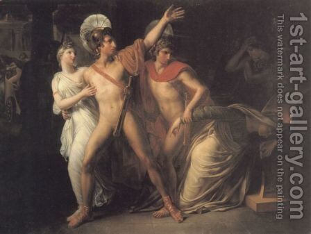 Castor and Polux Delivering Helen by Amable Paul Coutan - Reproduction Oil Painting