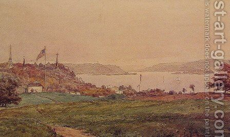 Looking North on the Hudson by Jasper Francis Cropsey - Reproduction Oil Painting