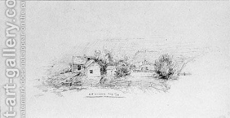 Country Scene with Cottages (from Cropsey Album) by Jasper Francis Cropsey - Reproduction Oil Painting