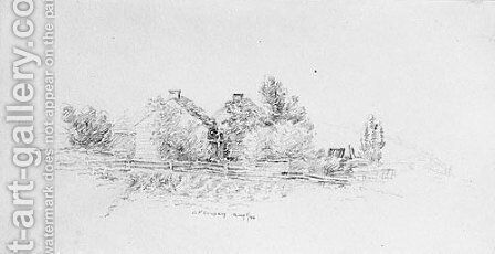 Farm Scene with Cottages (from Cropsey Album) by Jasper Francis Cropsey - Reproduction Oil Painting