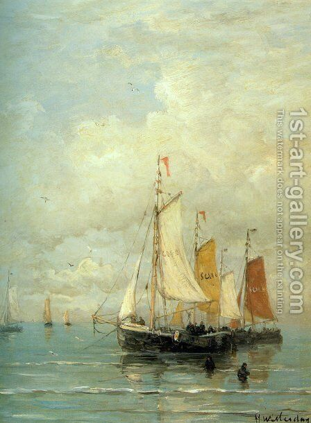 A Moored Fishing Fleet by Hendrik Willem Mesdag - Reproduction Oil Painting