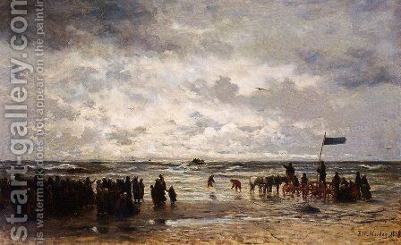 'Le Depart Du Bateau De Sauvetage' by Hendrik Willem Mesdag - Reproduction Oil Painting