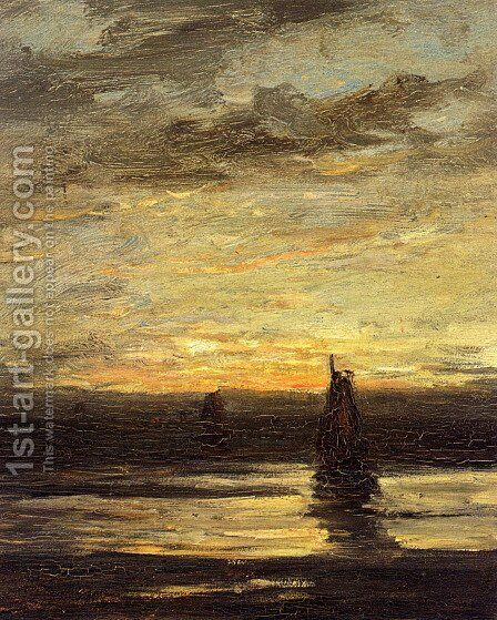 Fishing Boats At Dusk by Hendrik Willem Mesdag - Reproduction Oil Painting