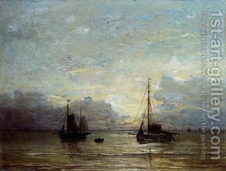Fishing Boats Near The Coast by Hendrik Willem Mesdag - Reproduction Oil Painting