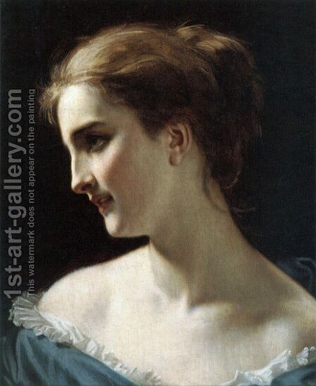 A portrait of a Woman by Hugues Merle - Reproduction Oil Painting